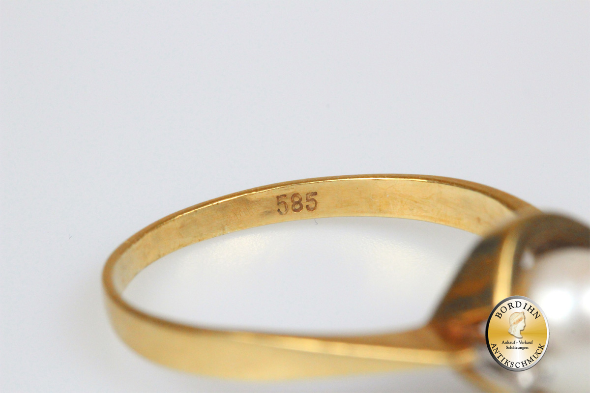 Ring 14 Karat Gold 2 Brillanten 1 Perle Goldring Schmuckring Damen