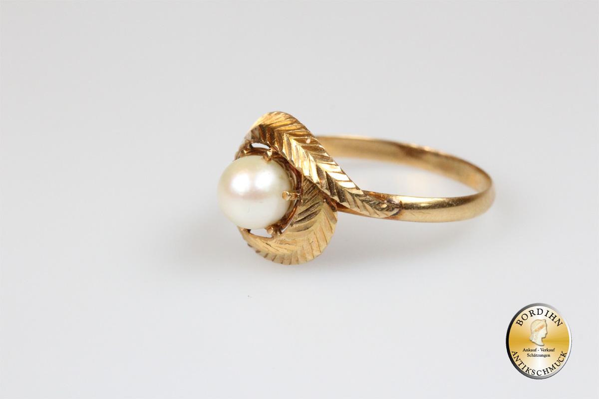 Ring 14 Karat Gold 1 Perle Perlenring Goldring Schmuckring Damenring
