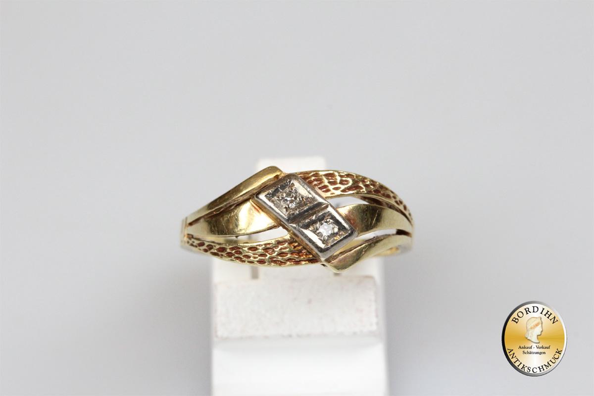 Ring; 14 Karat Gold, 2 Brillanten
