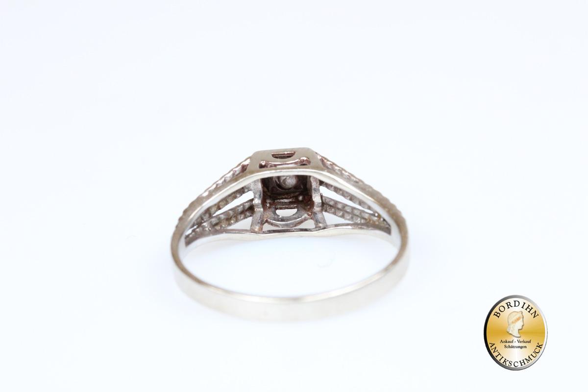 Ring 14 Karat Gold Weissgold 1 Brillant Damenring Brillantring antik