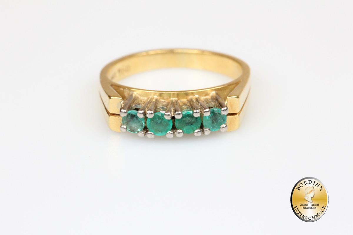 Ring 18 Karat Gold 4 Smaragde Goldring Edelsteine Damenring Geschenk