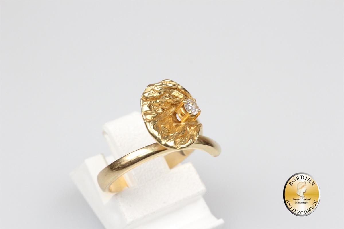 Ring 14 Karat Gold Diamant Ginkgoblatt Goldring Schmuckring Geschenk