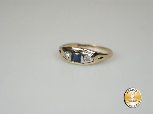 Ring; 18 Karat Gold, Safir, um 1900