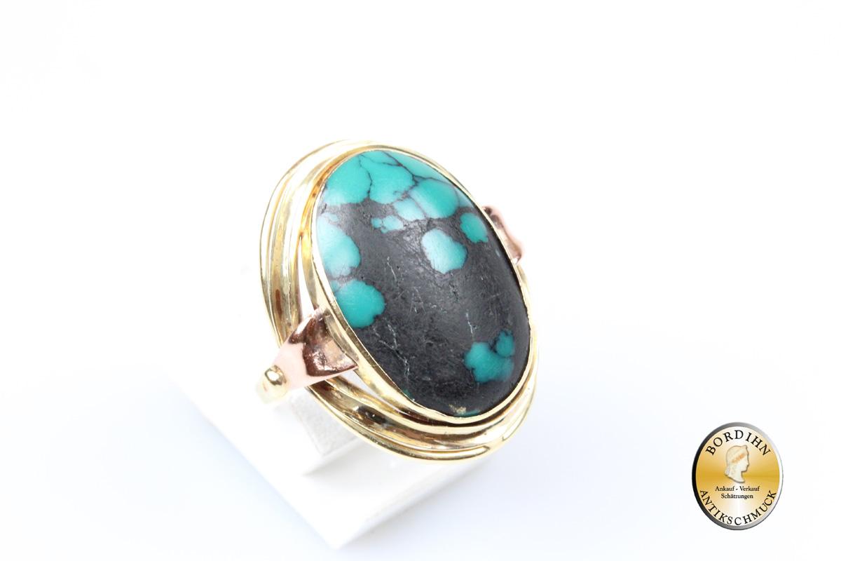 Ring; 14 Karat Gold, Türkis, oval