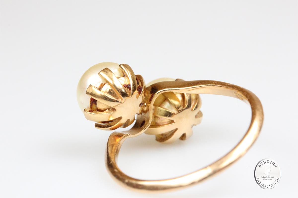 Ring 18 Karat Gold 2 Perlen Fingerring Schmuckring Damenring Geschenk