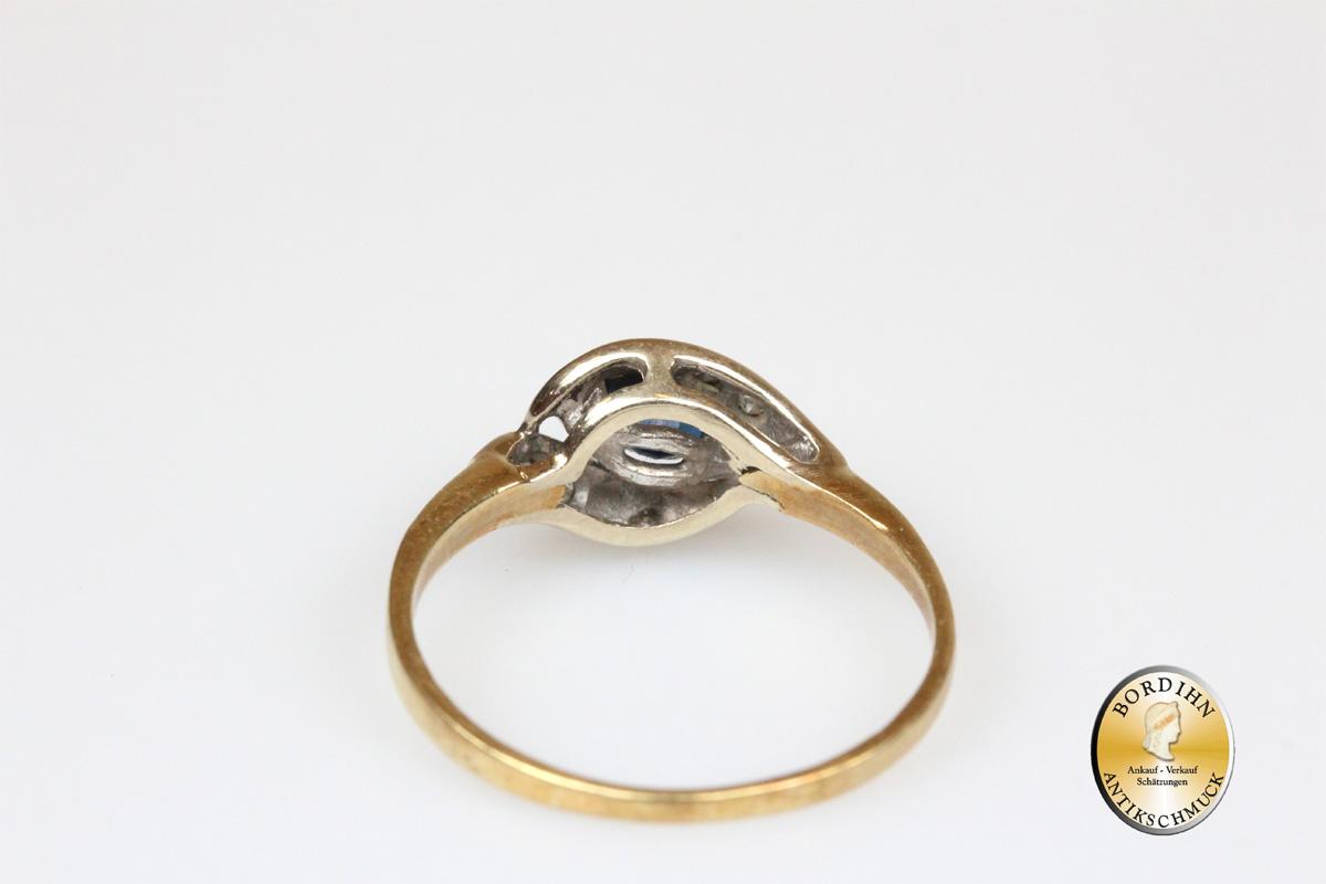 Ring; 14 Karat Gold, Saphir, kleine Brillanten