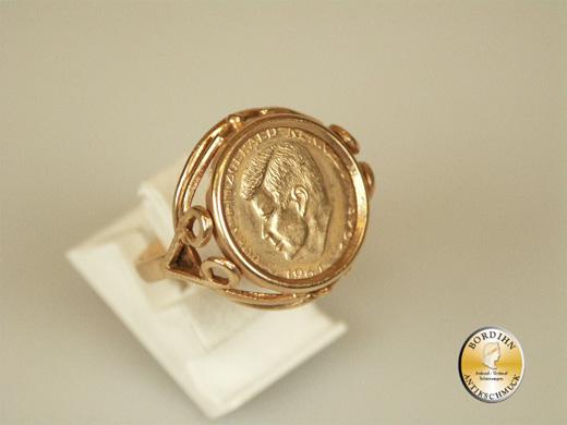 Ring 14 Karat Gold Münzring Kennedy