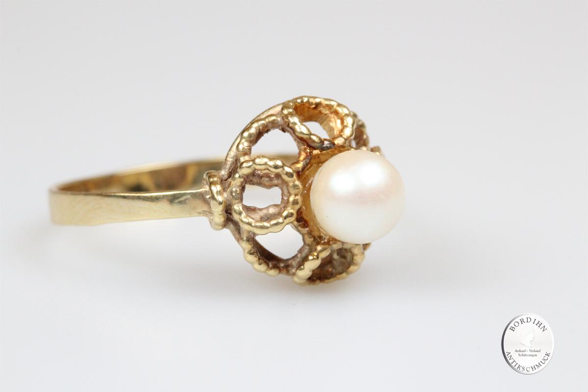 Ring 14 Karat Gold Perle Goldring Fingerring Damenring Perlenring