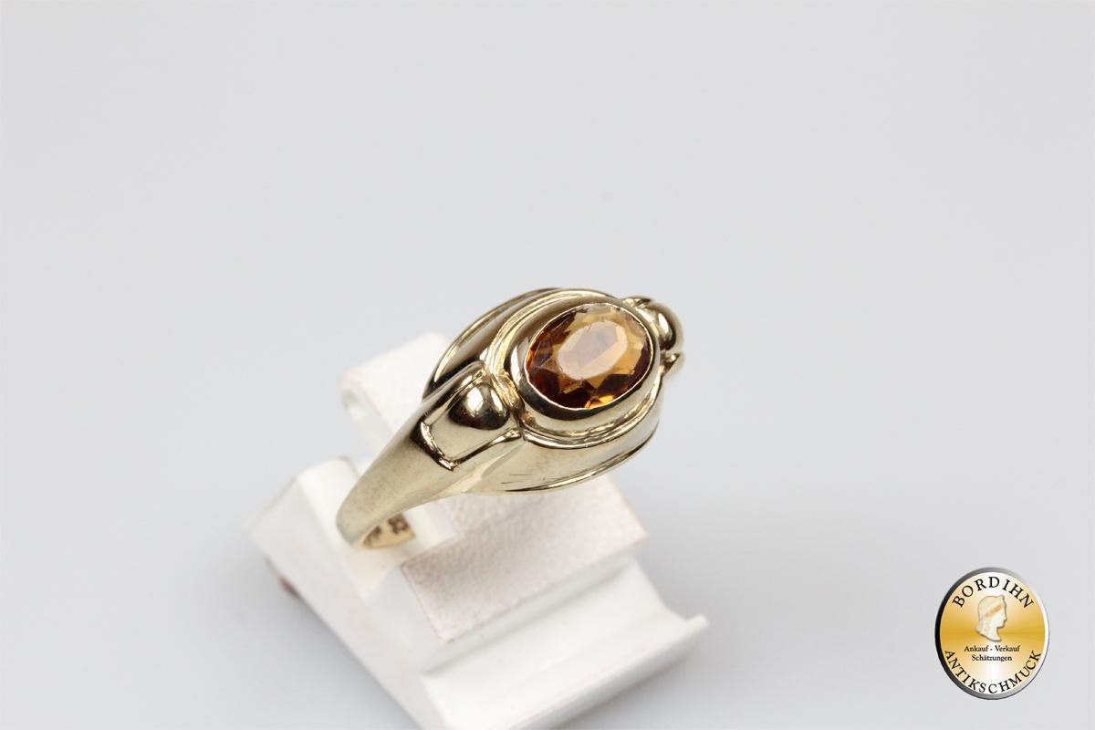 Gold Ring 8 Karat Gold Citrin Schmuckring Edelstein Frauen Geschenk
