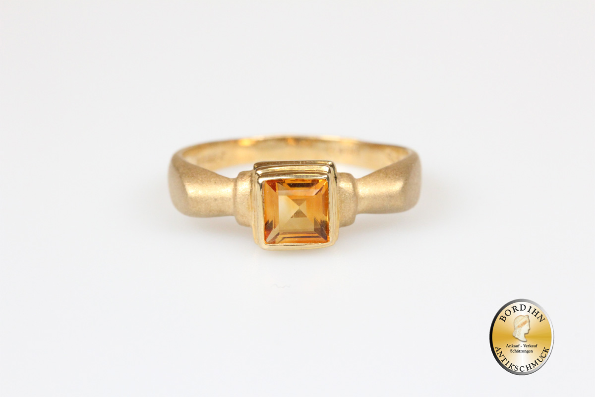 Ring 9 Karat 375 Gold Citrin Schmuckring Edelstein Goldring Fingerring