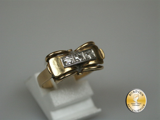 Ring 14 Karat Gold 3 Brillanten Brillantring Damen Goldring Schmuck