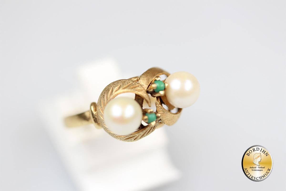 Ring 14 Karat Gold Perlen Türkis Perlenring Schmuckring Goldring Damen