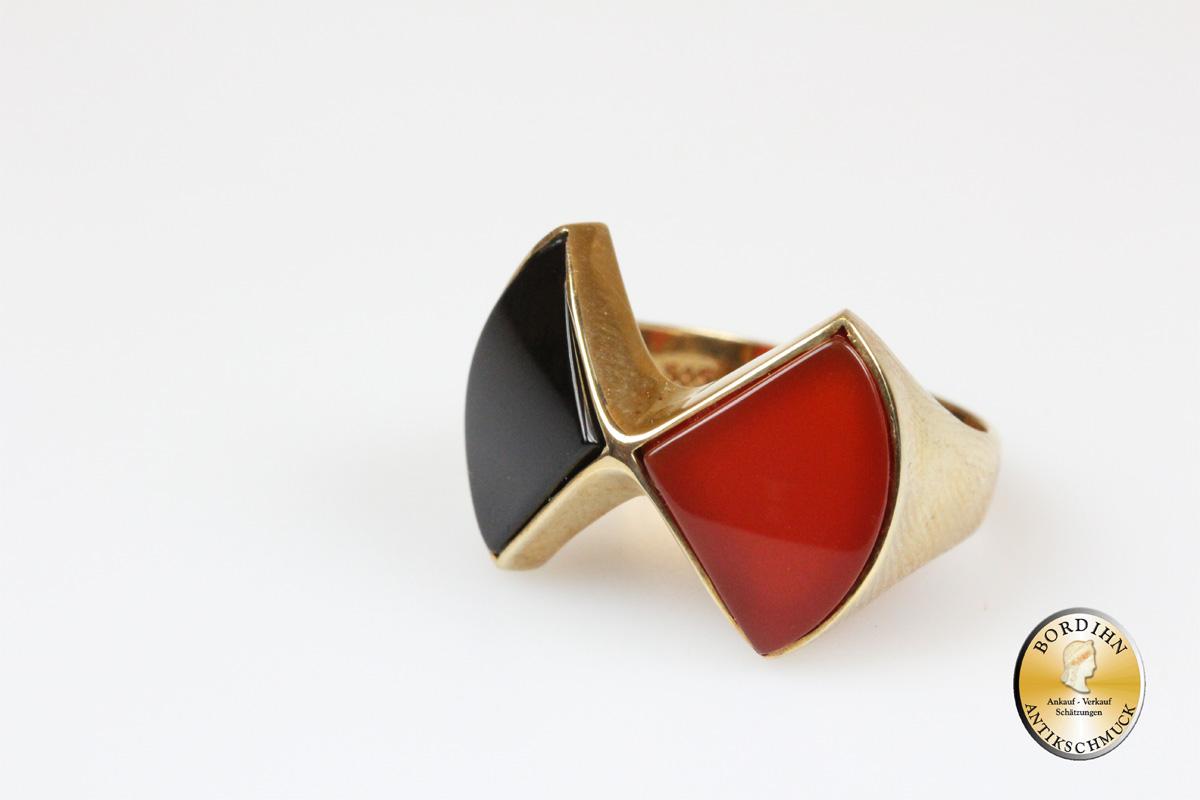 Ring 14 Karat Gold Onyx und Karneol Fingerring Schmuckring Goldring