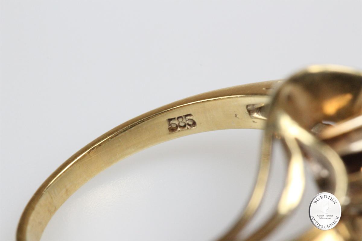 Ring 14 Karat Gold Brillant Brillantring Fingerring Damenring Schmuck