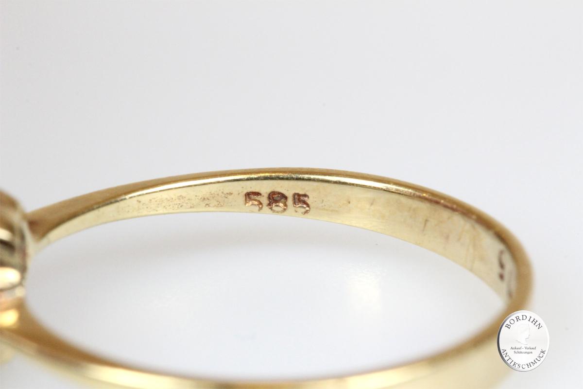 Ring 14 Karat Gold 1 Brillant Goldring Schmuck Edelstein Damen Geschenk
