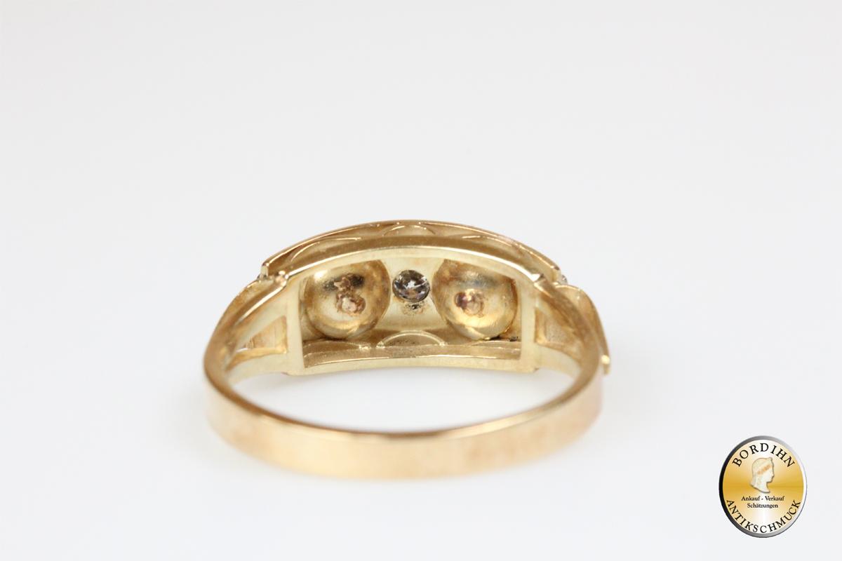 Ring 14 Karat Gold 2 Perlen 3 Brillanten Goldring Perlring Goldschmuck