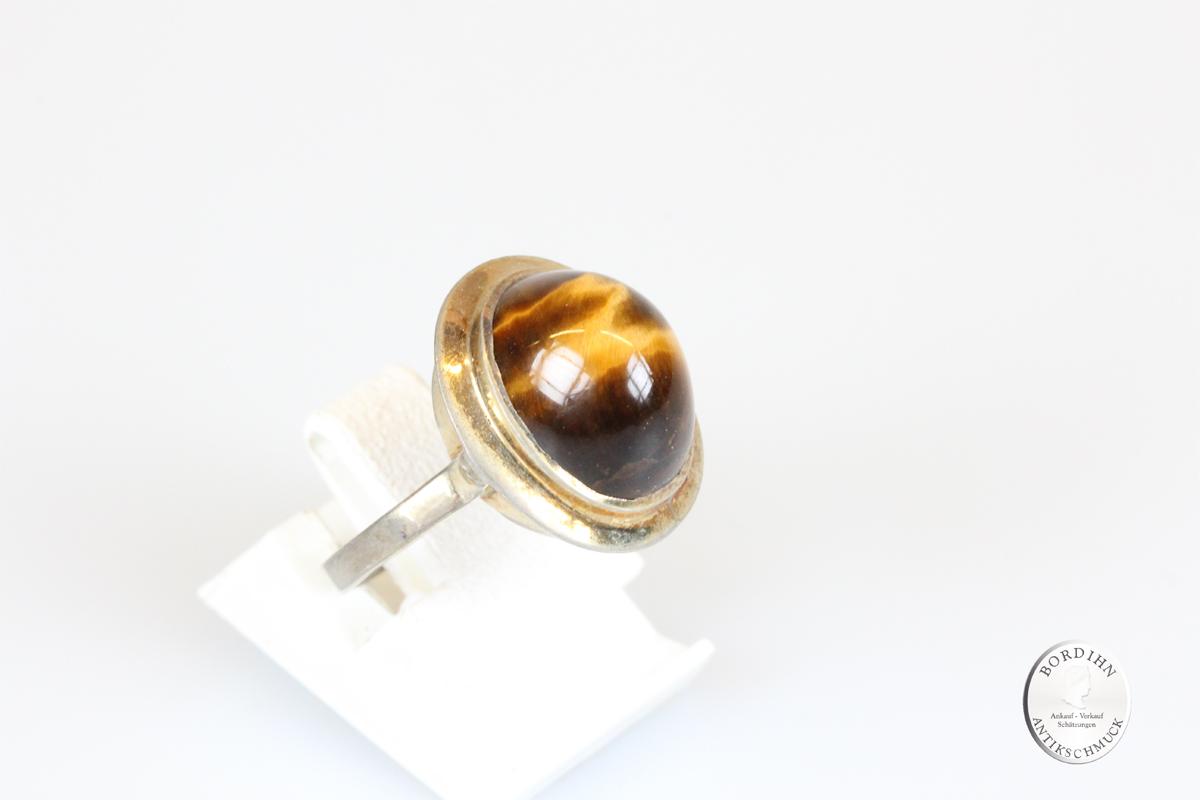Ring Silber vergoldet mit Tigerauge Schmuckring Damen Geschenk