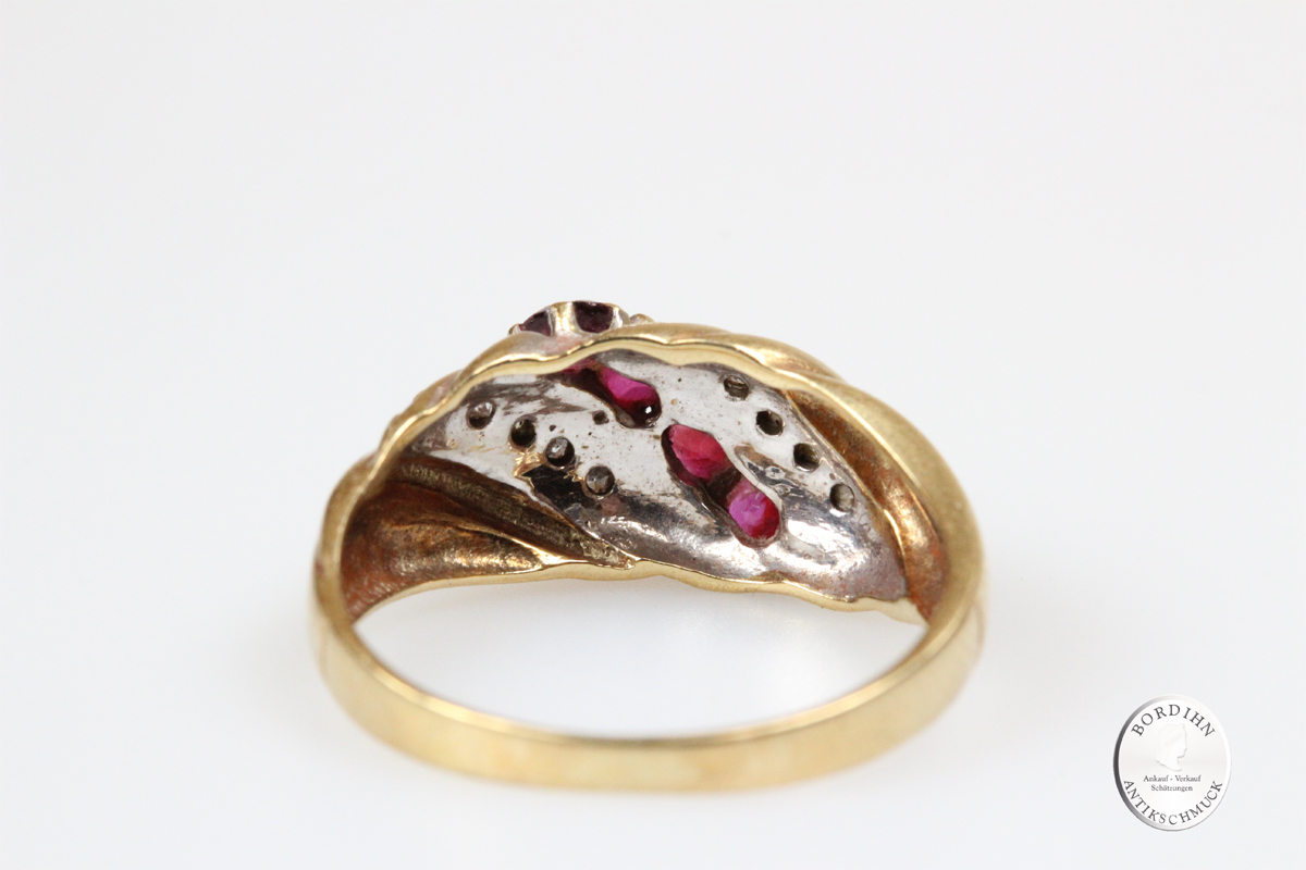 Ring; 14 Karat Gold, Rubin, Diamant, Damenring