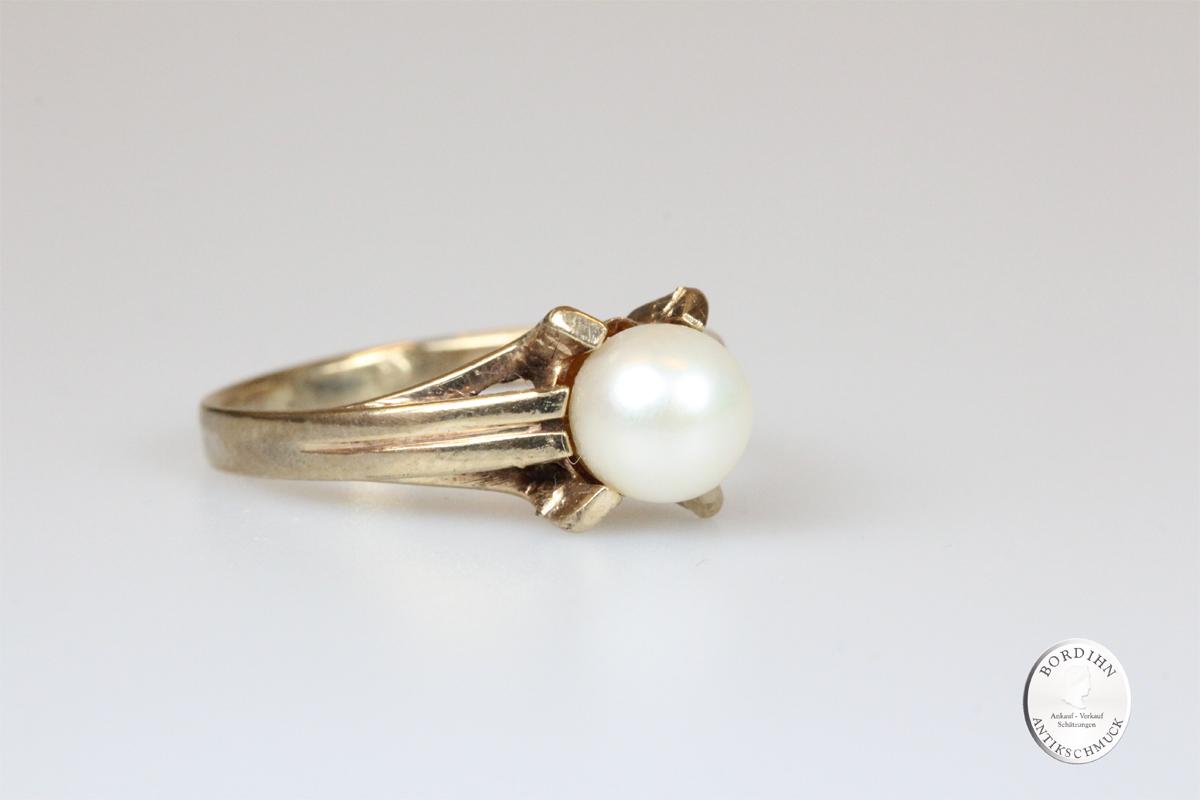 Ring 8 Karat Gold Perle Goldring Schmuckring Damen Geschenk Perlenring