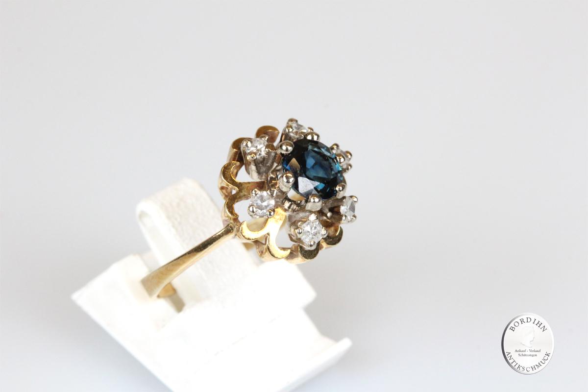 Ring; 14 Karat Gold mit Saphir u. Diamant, um 1970