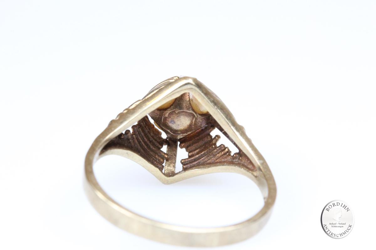 Ring 8 Karat Gold mit Perle Goldring Perlenring Damenring Schmuckring