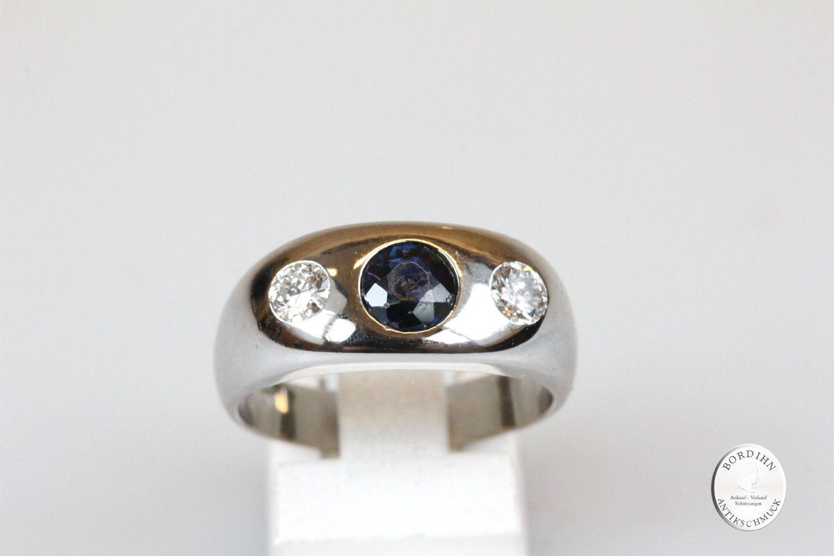Ring 18 Karat Weissgold Brillanten Saphir Goldring Edelsteine Schmuck