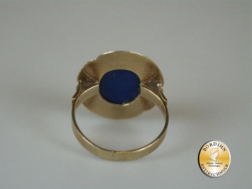 Ring; 14 Karat Gold mit Lapis (oval), um 1970