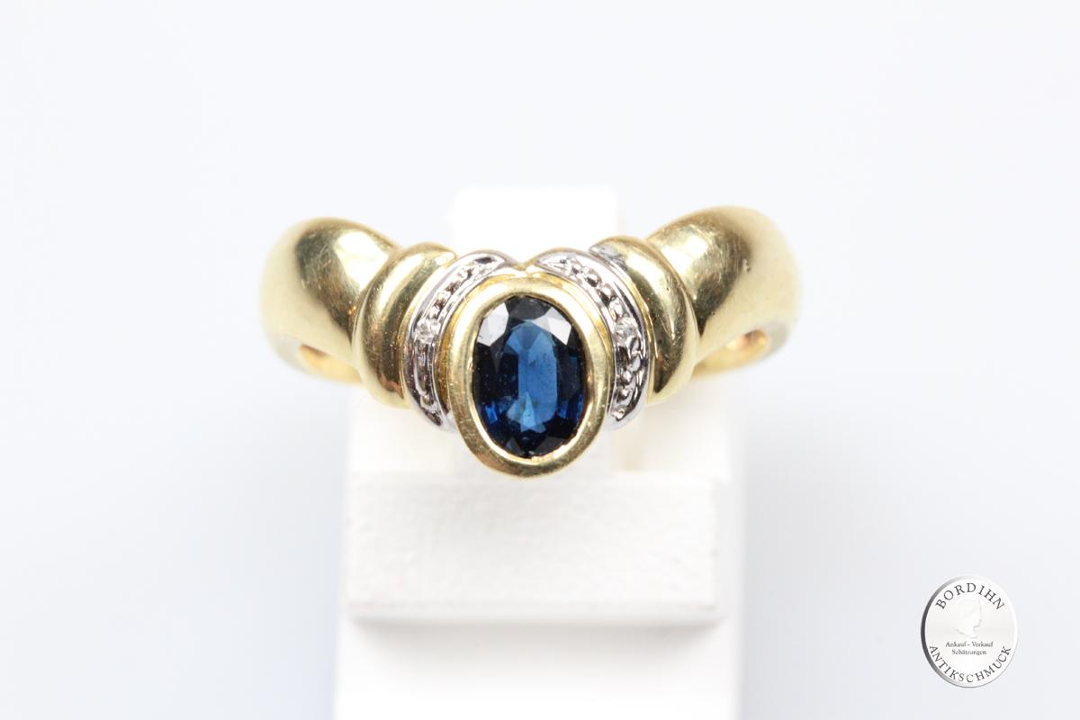 Ring 14 Karat Gold Saphir Brillantsplitter Schmuckring Fingerring