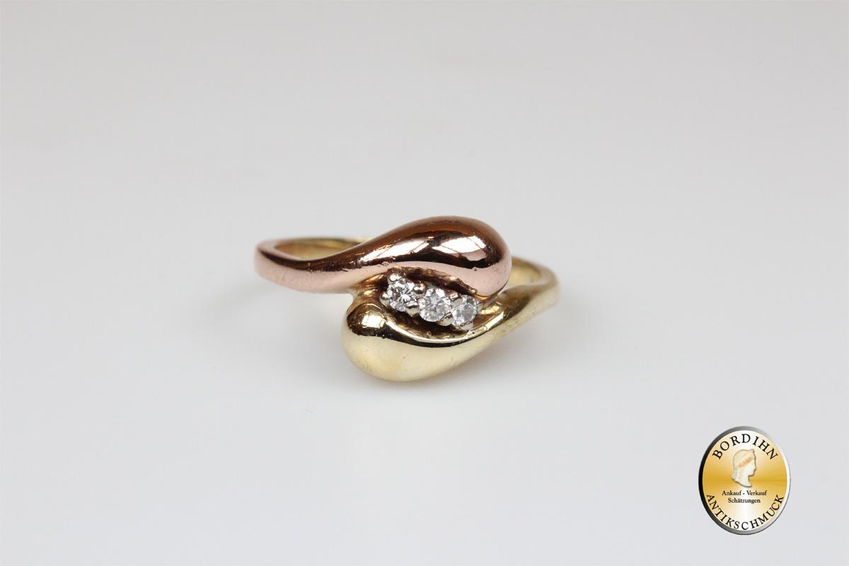 Ring 14 Karat Gold 3 Brillanten Goldring Schmuck Damen Geschenk