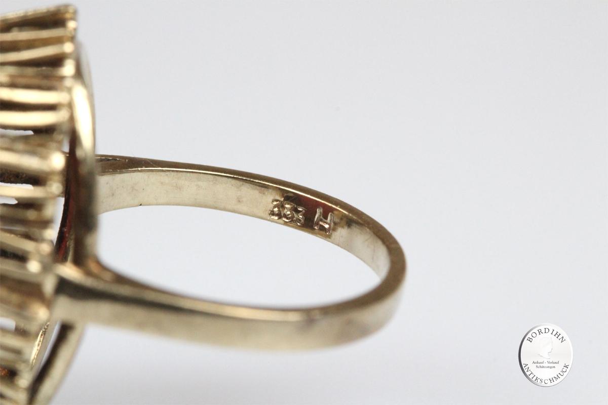 Ring 8 Karat Gold Rosenquarz oval Goldring Schmuckring Fingerring
