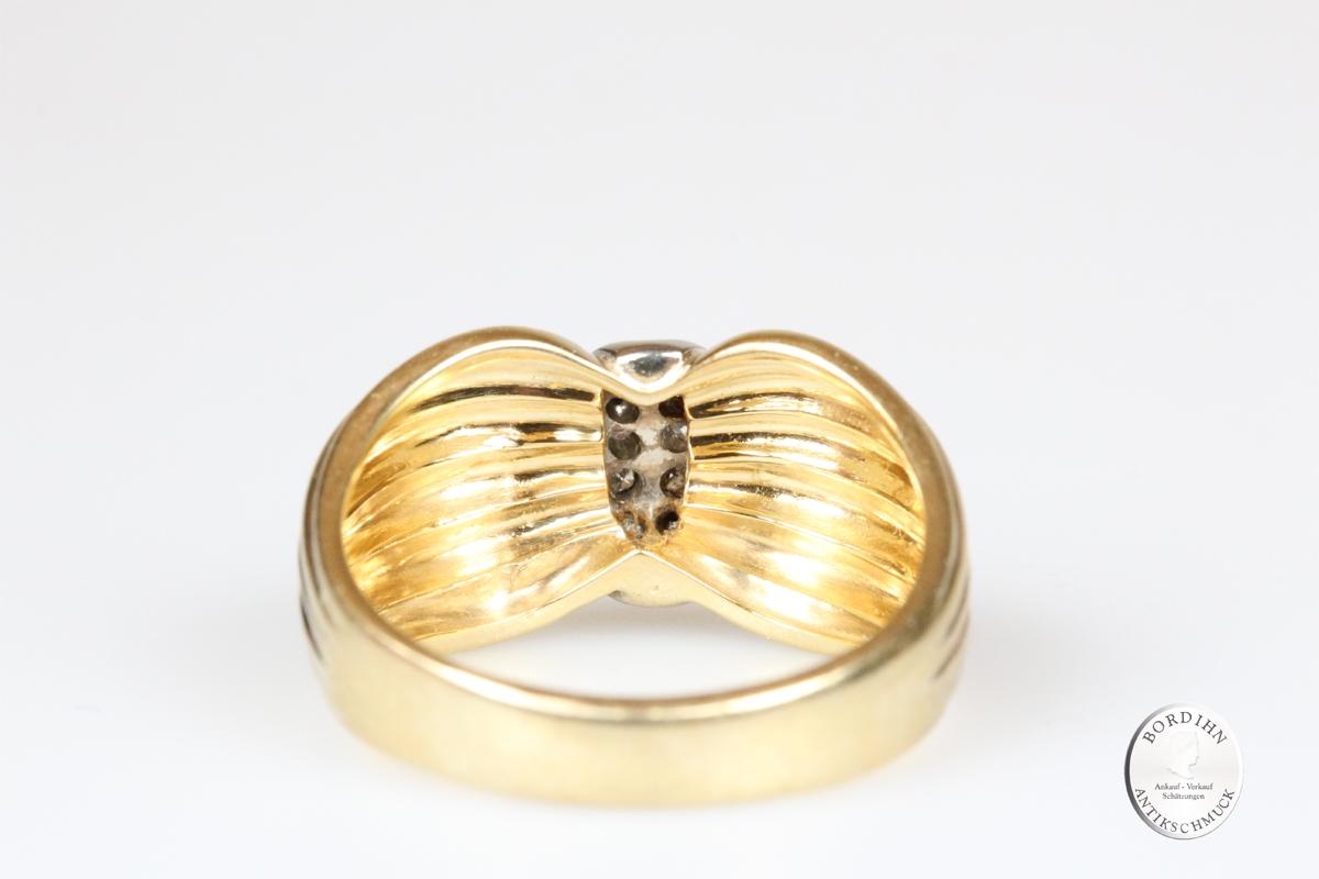 Ring 14 Karat Gold 12 Brillanten Goldring Schmuck Edelsteine Geschenk