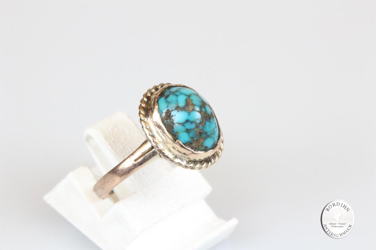 Ring 8 Karat Gold Türkis antik Schmuck Goldring Damen Geschenk