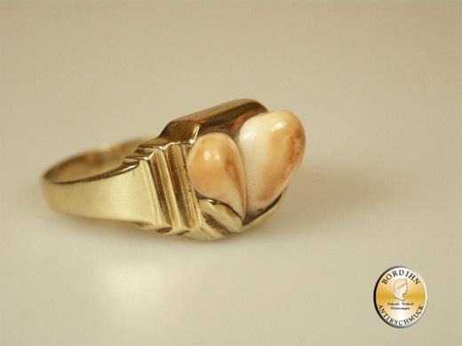 Ring; 14 Karat Gold mit zwei Grandl