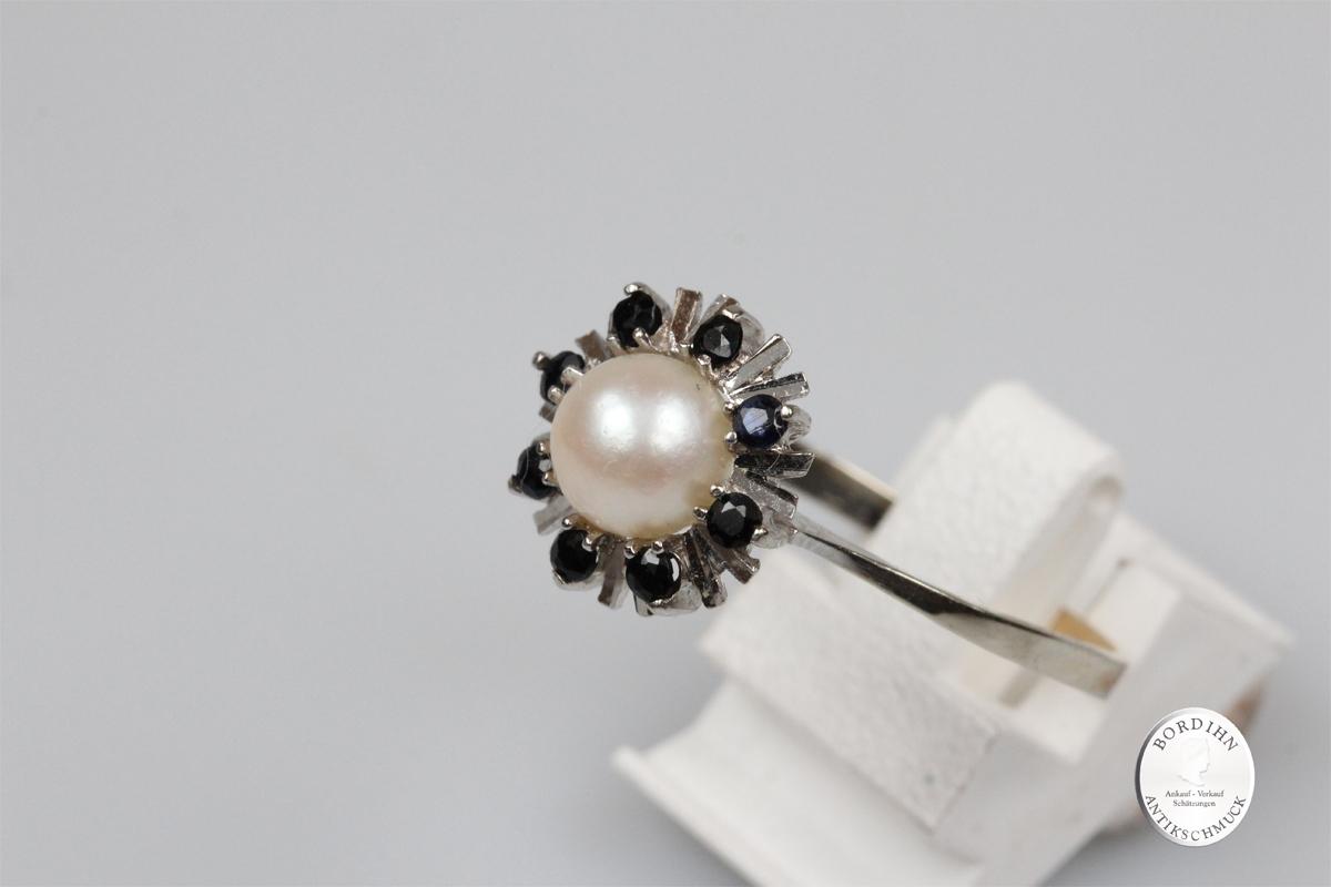 Ring 14 Karat Gold Weißgold Saphir Perle Goldring Schmuckring Geschenk