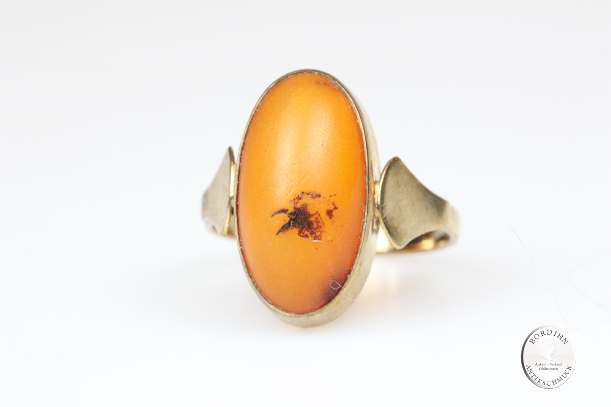 Ring 8 Karat Gold Bernstein oval Schmuck Fingerring Edelstein Damen