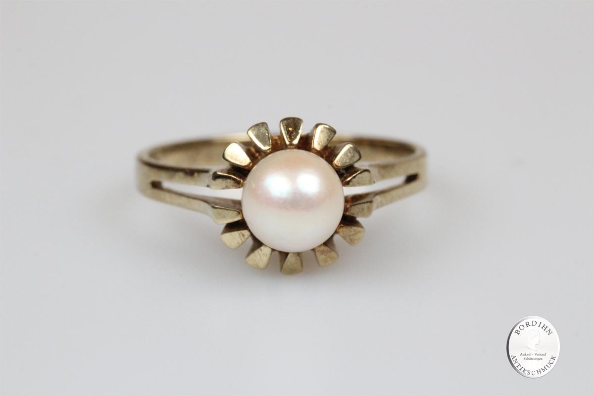 Ring 8 Karat Gold 1 Perle Schmuckring Fingerring Damen Geschenk Perle