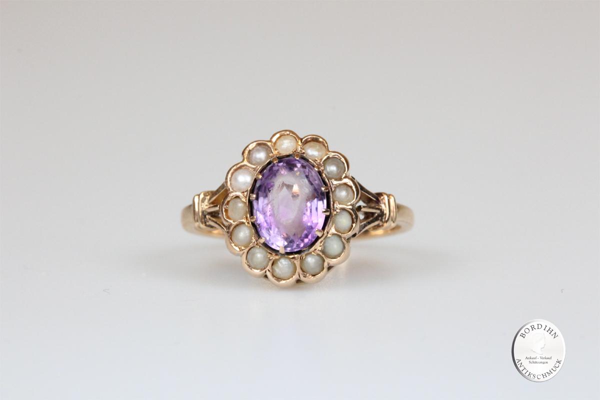 Ring 14 Karat Gold Amethyst und Perlchen antik Schmuck Goldring Damen Geschenk