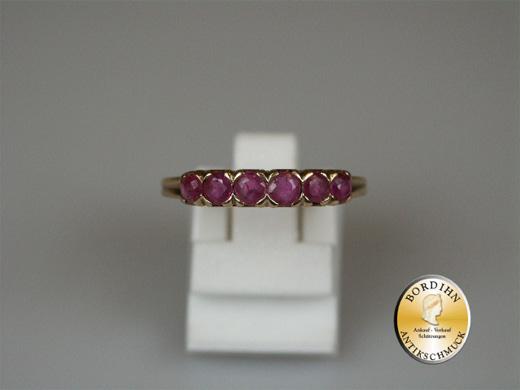 Ring; Bandring, 14 Karat Rotgold; 6 Rubine, um 1990