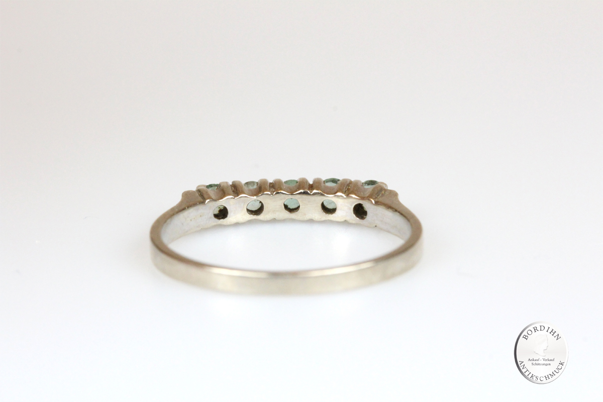 Ring 14 Karat Gold 5 Smaragde Goldring Schmuck Edelsteine Damen Geschenk