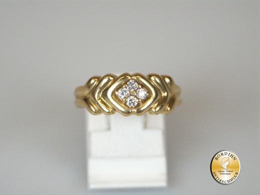 Ring 18 Karat Gelbgold 4 Brillanten Bandring Gold Schmuckring Geschenk