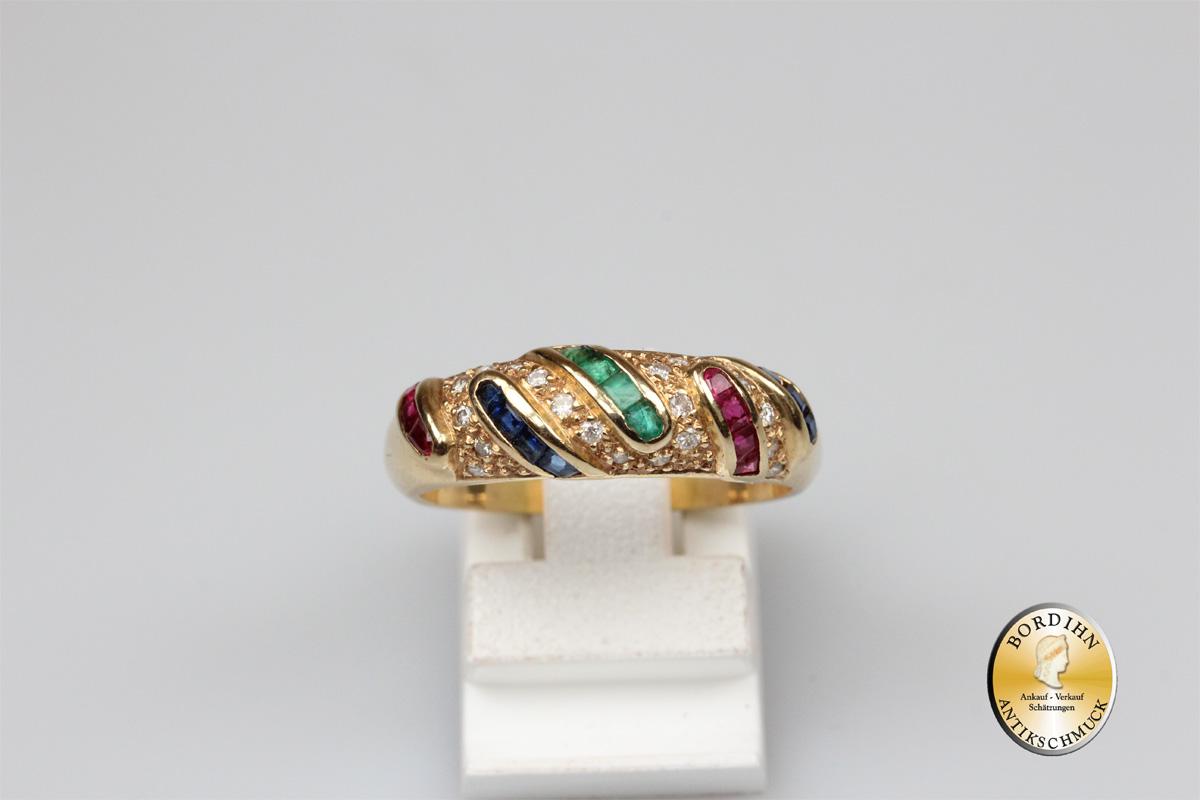 Ring; 14 Karat Gold, Smaragd, Rubin, Saphir, Diamant