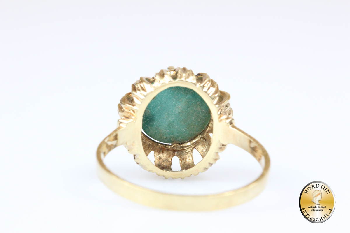 Ring; 14 Karat Gold, Türkis, Damenring, Goldring, Fingerring, Schmuck