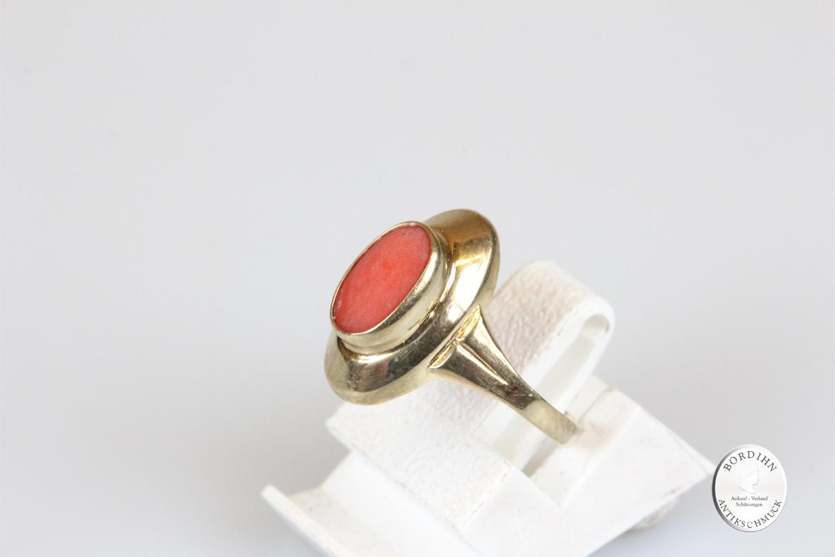 Ring 8 Karat Gold mit Koralle Goldring Schmuck Damen Geschenk