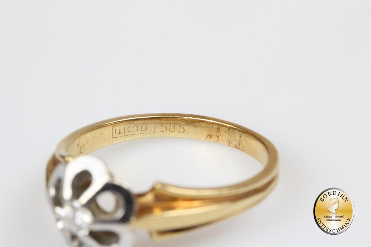 Ring 14 Karat Gold 1 Brillant Goldring Schmuckring Fingerring antik