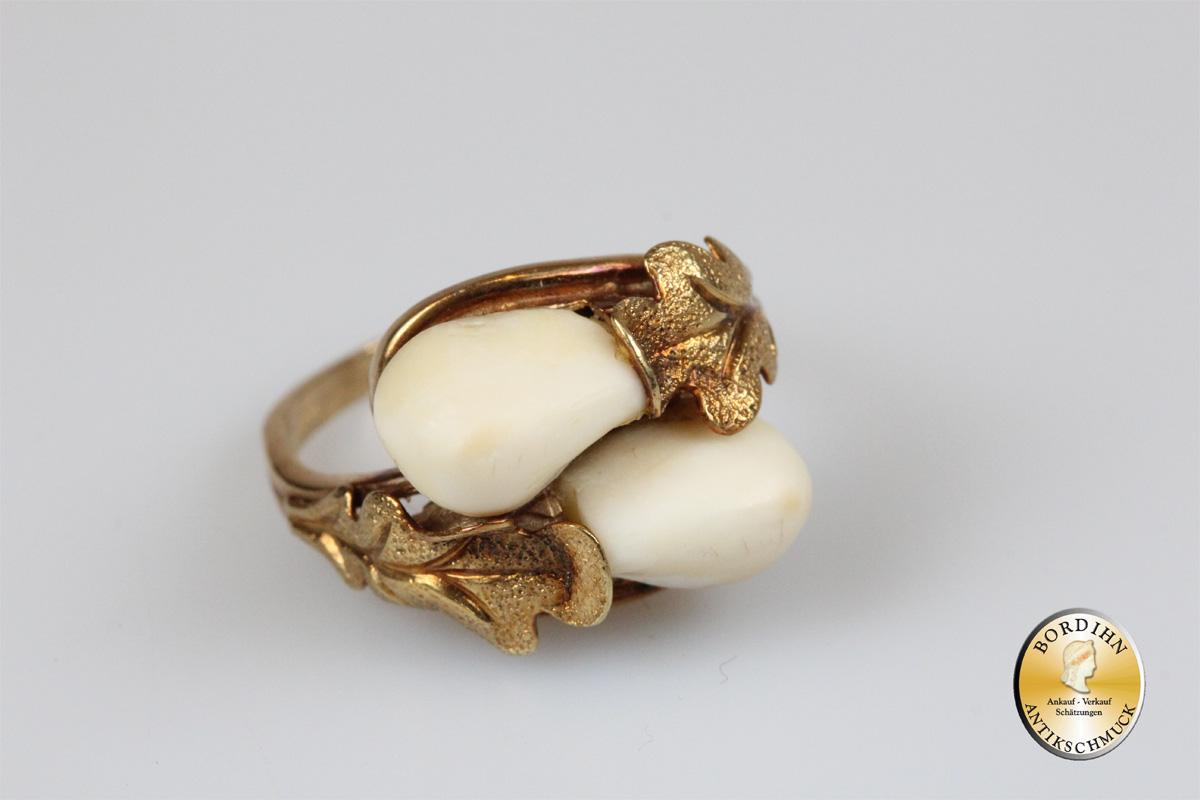 Ring; 14 Karat Gold, 2 Grandel, Trachtenring