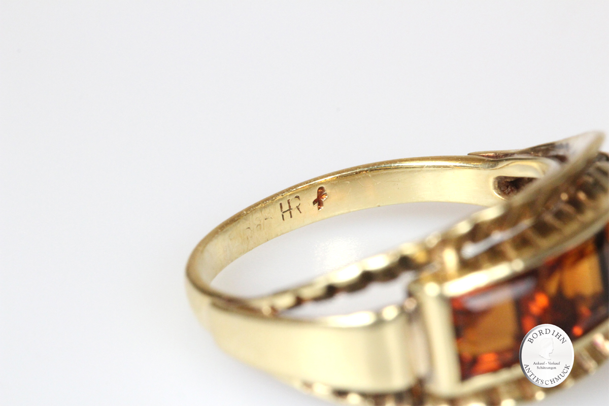 Ring 14 Karat Gold 3 Steine Citrin Goldring Schmuckring Edelsteine