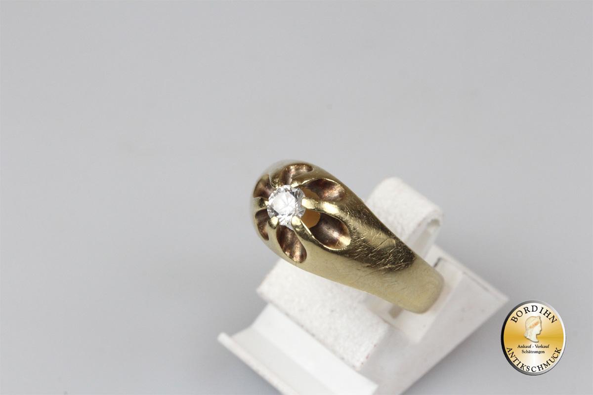Bandring 14 Karat Gold Ring Zirkonia Goldring Schmuckring Goldschmuck