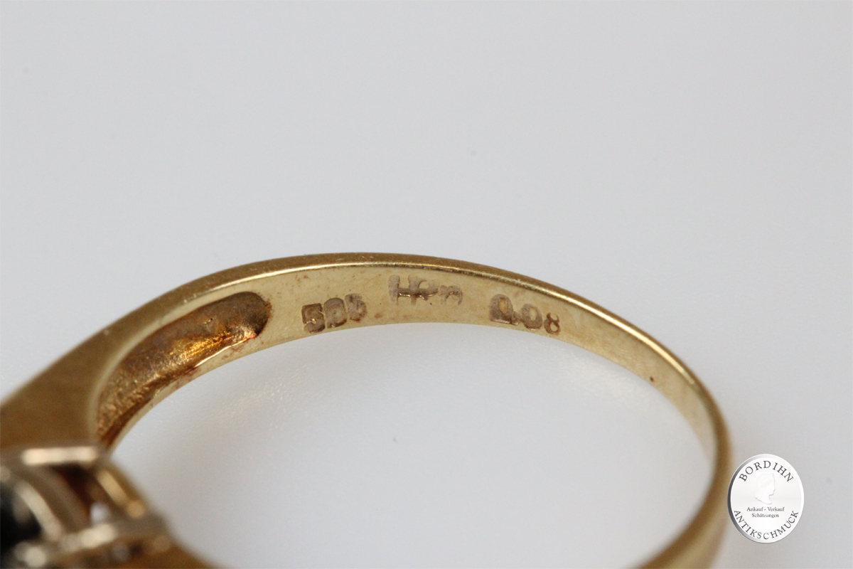 Ring 14 Karat Gold Saphir Diamanten Schmuckring Edelstein Damenring