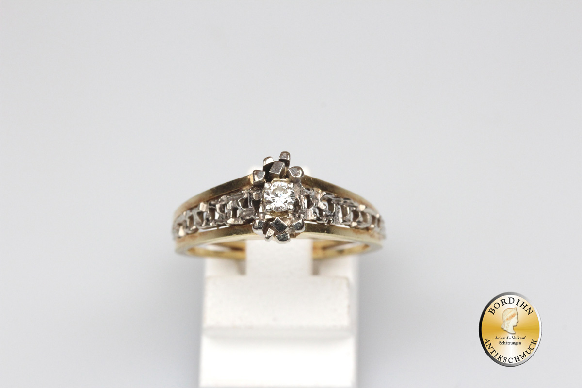 Ring; 14 Karat Gold, mit Brillant