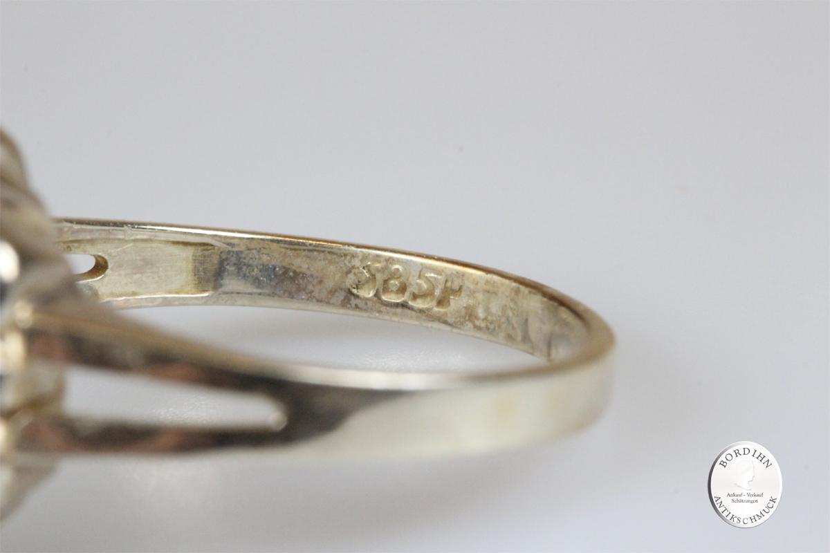 Ring 14 Karat Gold Weißgold 1 Perle 6 Diamanten Goldring Schmuck Damen Geschenk